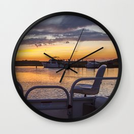 Boat Side Sunset Wall Clock