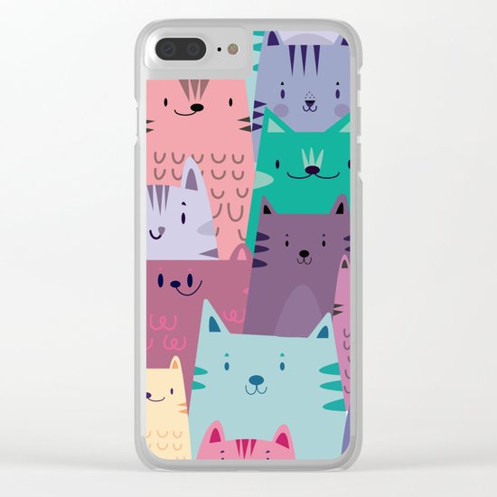 Pastel Cats Clear iPhone Case