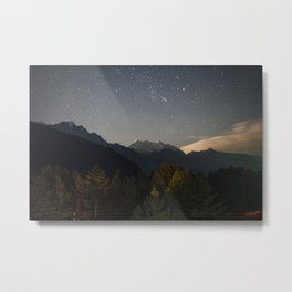 Starry night sky over the himalayas. Metal Print