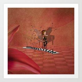 Cute fairy dancing on a piano Art Print