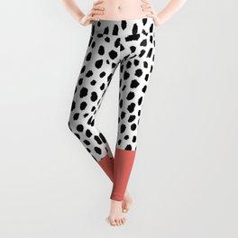 Dalmatian Spots with Coral Stripe (Pantone Living Coral) Leggings