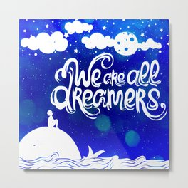 Ocean Blue Dreams Stars Inspirational Quote Metal Print