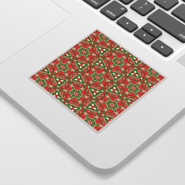 Red, Green and White Kaleidoscope 3375 Sticker