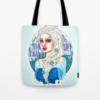 elsa Tote Bags featuring Elsa by Little Lost Forest