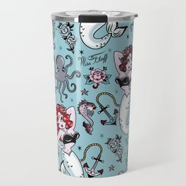Molly Mermaid vintage pinup inspired nautical tattoo Travel Mug