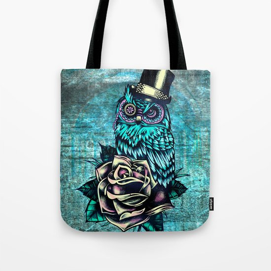 Tattoo style owl with top hat and rose. Rockabilly style.  Tote Bag