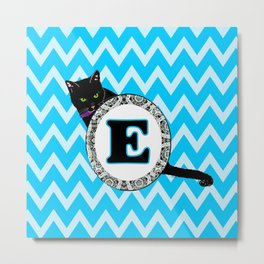 E Cat Chevron Monogram Metal Print