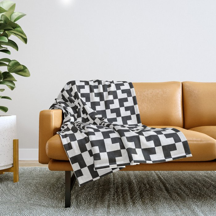 Black and White Tessellation Pattern - Graphic Design Throw Blanket