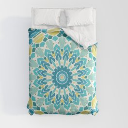 Lime Green and Turquoise Blue Mandala Comforters
