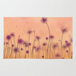 Dreamy Violet Dandelion Flower Garden Rug
