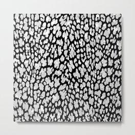 Hipster modern black white cheetah animal print Metal Print
