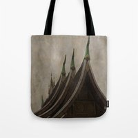 buddhism Tote Bags featuring Temple of the golden city Luang Prabang Laos by Maria Heyens