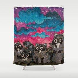 Raccoon Family Shower Curtain