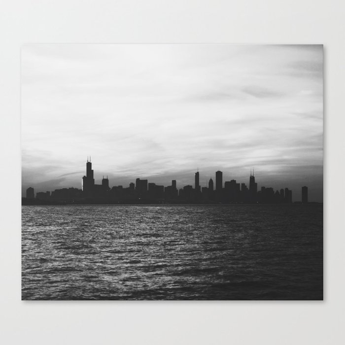 Black and White Chicago Seascape Canvas Print