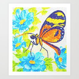 Butterfly Beauty. Pointillism from a watercolour painting. Art Print