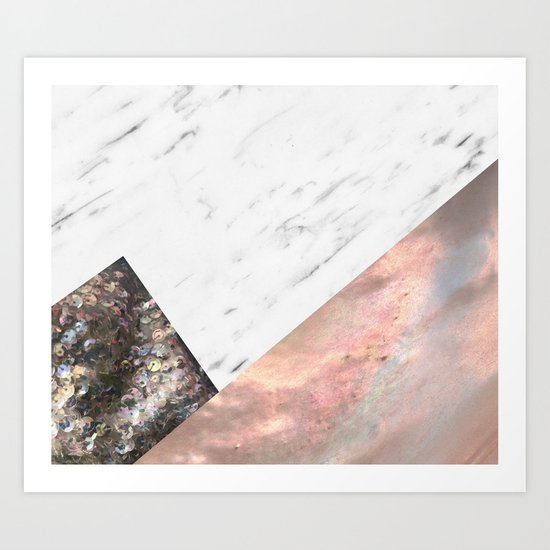 Marble with sequins and mother of pearl Art Print