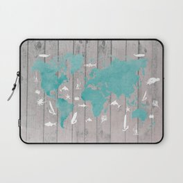world map 100 fish and surf #worldmap #map Laptop Sleeve