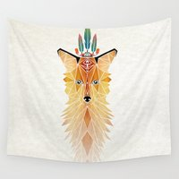 spirit Wall Tapestries featuring fox spirit  by Manoou