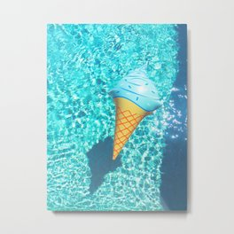 blue ice cream cone float all up in my pool yo Metal Print