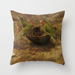 Lovebirds Oil Painting Throw Pillow