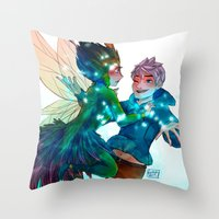 jack frost Throw Pillows featuring Jack Frost & Toothina by Kiome-Yasha