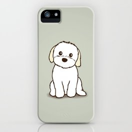 Shih Tzu and Maltese Mix Puppy Illustration iPhone Case