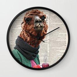 Alpaca Print, Alpaca Wall Art, Modern Minimal,original art dictionary page book art print, Coffee Wall Clock