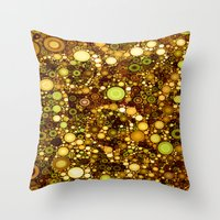 solid color Throw Pillows featuring :: Solid Gold :: by :: GaleStorm Artworks ::
