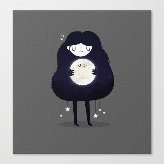 Hug the moon Canvas Print