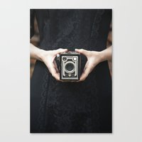 vintage camera Canvas Prints featuring Vintage Camera by Maria Heyens