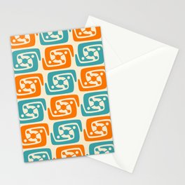 Mid Century Modern Galaxy Pattern 131 Orange and Turquoise Stationery Cards