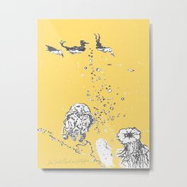 Two Tailed Duck and Jellyfish Pale Yellow Mellow Metal Print