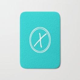 Monogram - Letter X on Cyan Background Bath Mat