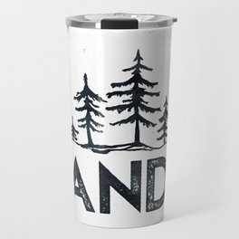 WANDER Forest Trees Black and White Travel Mug