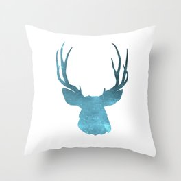 Deer head and stag simple illustration Throw Pillow