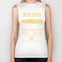 hufflepuff Biker Tanks featuring Hufflepuff by Dorothy Leigh