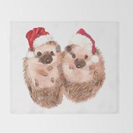 Christmas Twin Hedgehog Throw Blanket