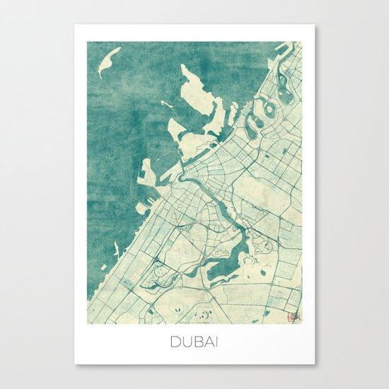 Dubai Map Blue Vintage Canvas Print