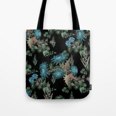 Blue chrysanthemums. Black . Watercolor . Tote Bag