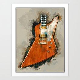 The Edge's electric guitar, guitar wall art, studio decor, music room decor, gift for guitarist Art Print