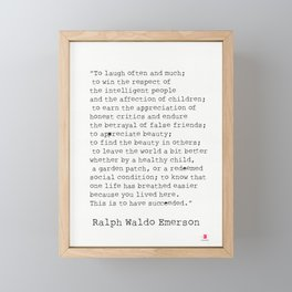 """""""To laugh often and much;"""" Ralph Waldo Emerson quote Framed Mini Art Print"""