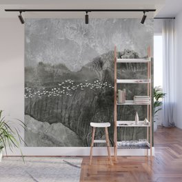 A cloud of white birds Wall Mural