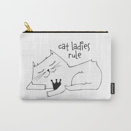 Scandinavian style cat and crown art print Carry-All Pouch