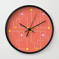 pacman Wall Clocks featuring Pacman by CATHERINE DONOHUE