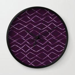 Hand Drawn Horizontal Diamond Chevron Pattern on Deep Dark Purple Wall Clock