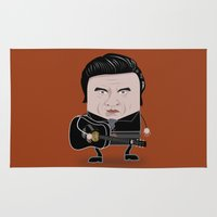 johnny cash Area & Throw Rugs featuring Johnny Cash - Funny Cubes Series by Francesco Dibattista