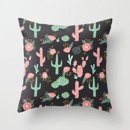 Cactus florals dark charcoal colorful trendy desert southwest house plants cacti succulents pattern Throw Pillow