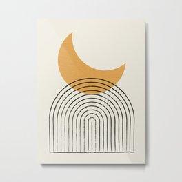 Moon mountain gold - Mid century style Metal Print