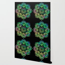 Neon Psychedelic Mandala Wallpaper