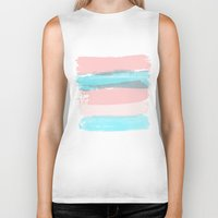 the strokes Biker Tanks featuring Flowers strokes by Simi Design